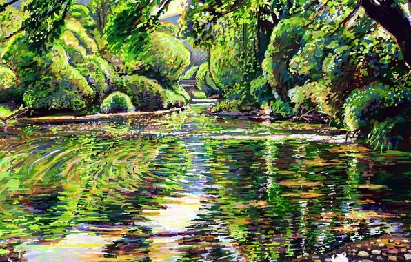 Картинка кот, деревья, природа, озеро, отражение, камни, арт, hikarinotubu