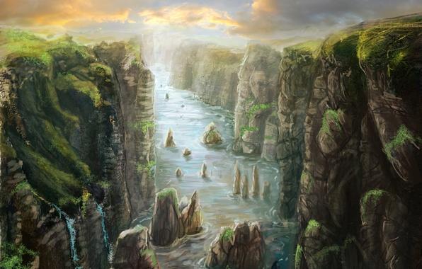 Картинка пейзаж, птицы, река, камни, обрыв, скалы, арт, ущелье