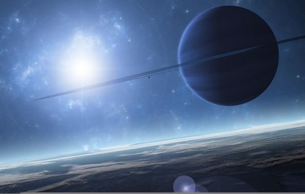Картинка space, light, blue, planet, atmosphere, Sci Fi