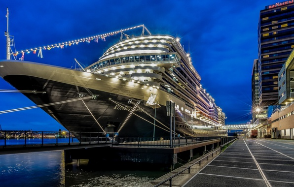 Картинка Amsterdam, Night, Cruise Ship