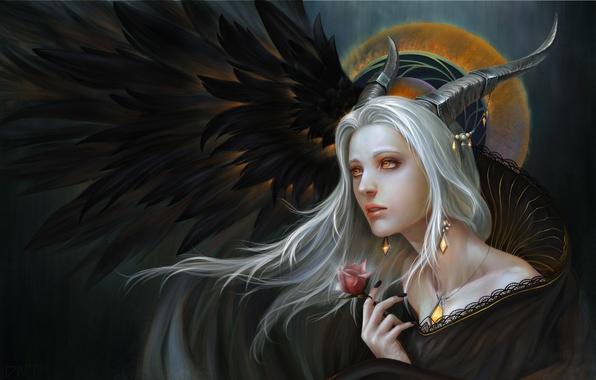 Картинка цветок, взгляд, девушка, украшения, металл, фантастика, волосы, роза, арт, рога