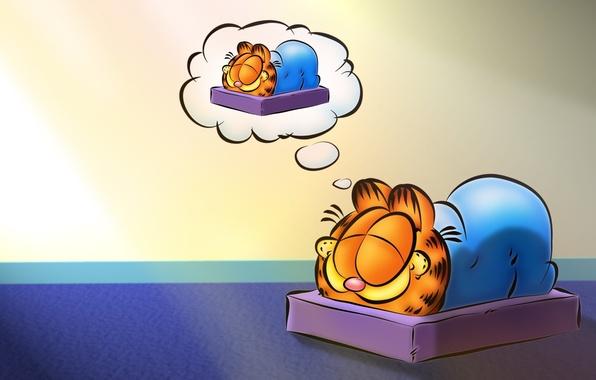 Картинка кот, мультфильм, сон, спит, Гарфилд, Garfield