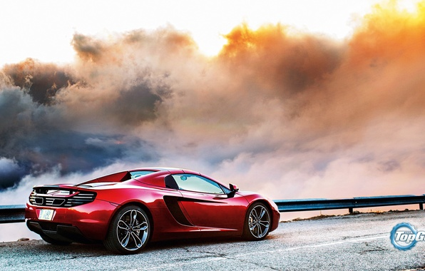 Картинка McLaren, Top Gear, Red, Clouds, Sky, British, MP4-12C, Back, Road, Supercar