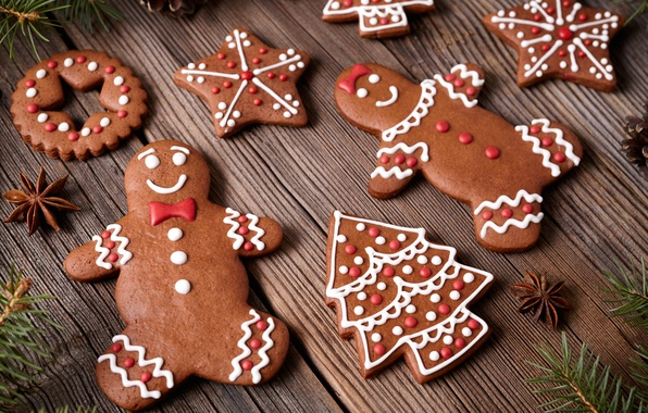 Картинка Новый Год, печенье, Рождество, Christmas, выпечка, сладкое, Xmas, глазурь, cookies, decoration, gingerbread, Merry