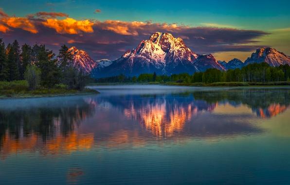 Картинка Landscape, Water, Snake, Mountain, Sunrise, Morning, River, Reflection, Moran