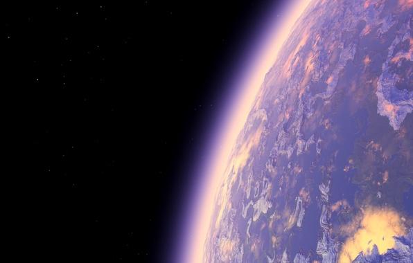 Картинка космос, звезды, планета, атмосфера, арт, рендер