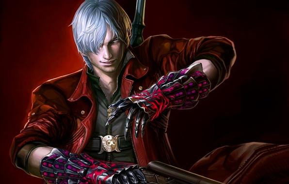 Картинка взгляд, оружие, пистолеты, меч, guns, sword, Dante, красный плащ, Данте, Devil may cry 4, game …