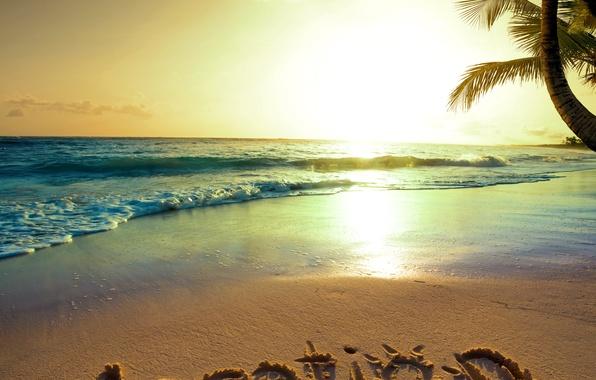 Картинка песок, море, пляж, солнце, закат, тропики, океан, берег, summer, beach, sea, ocean, coast, sunset, blue, …