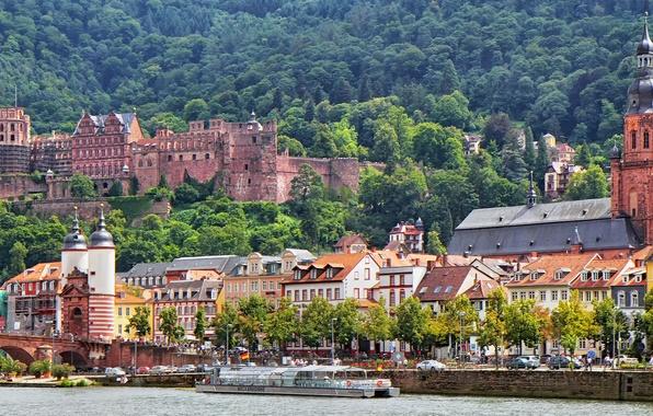 Картинка лес, мост, река, замок, здания, Германия, церковь, набережная, Germany, теплоход, Старый мост, Баден-Вюртемберг, Baden-Württemberg, Heidelberg, …