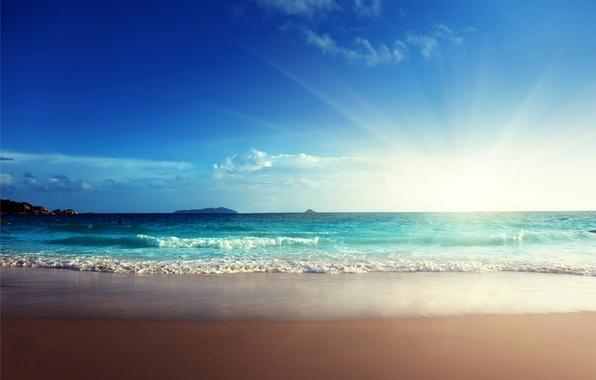 Картинка песок, море, пляж, солнце, sunshine, beach, sea, ocean, blue, sand, emerald