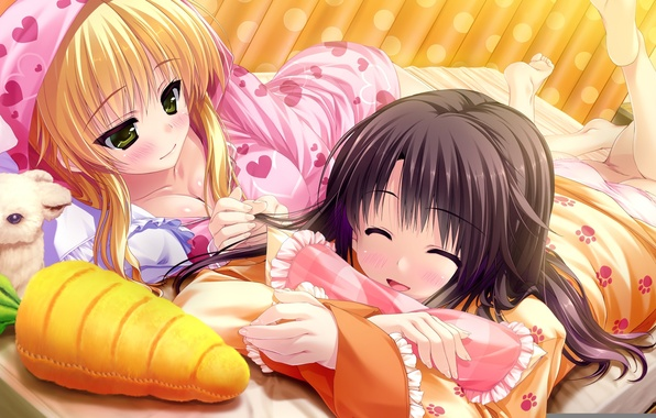 Картинка девушка, игрушка, морковка, кролик, арт, девочка, зайчик, лежа, uisaki hinano, prism recollection, kugayama konoka, shintaro