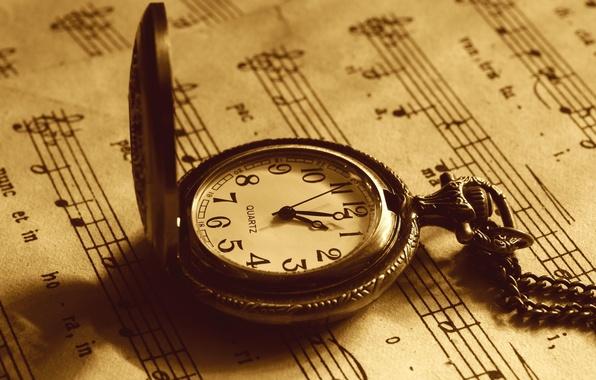Картинка макро, время, ноты, фото, стрелки, часы, сепия, циферблат, разное