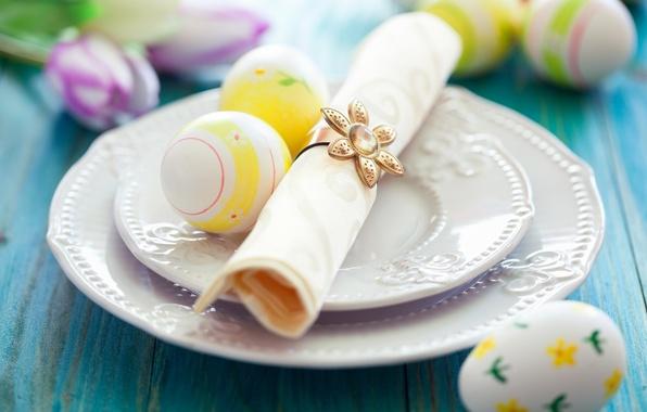 Картинка цветы, стол, праздник, яйца, Пасха, тюльпаны, тарелки, салфетка