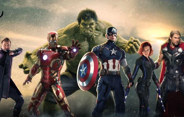 Картинка Scarlett Johansson, Hulk, Robert Downey Jr, Iron Man, Captain America, thor, Black Widow, Natasha Romanoff, …