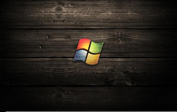 Картинка windows, microsoft, wood, logos