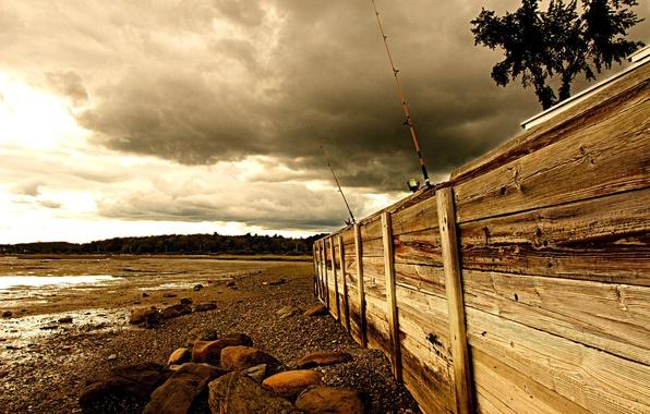 Картинка море, забор, рыбалка