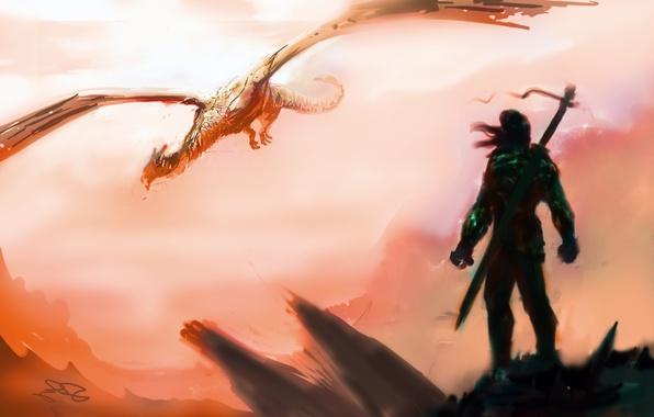 Картинка небо, полет, оружие, фантастика, дракон, меч, воин, арт