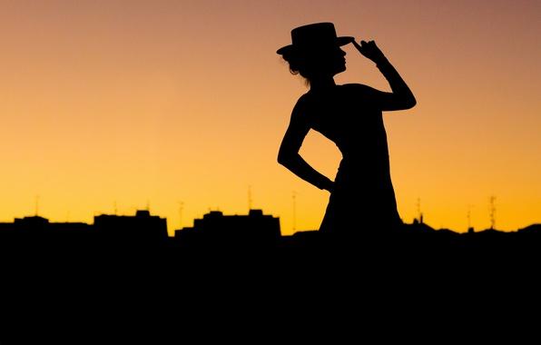 Картинка city, hat, woman, pose, silhouette, Tango