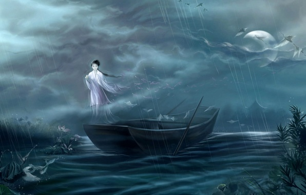 Картинка девушка, ночь, туман, дом, река, дождь, луна, лодка, япония, дух, арт, журавли