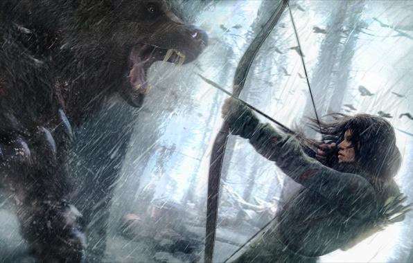 Картинка девушка, снег, волк, лук, стрела, lara croft, tomb raider, сибирь, Rise of the Tomb Raider