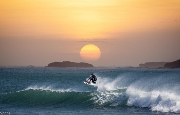 Картинка волны, закат, океан, серфинг