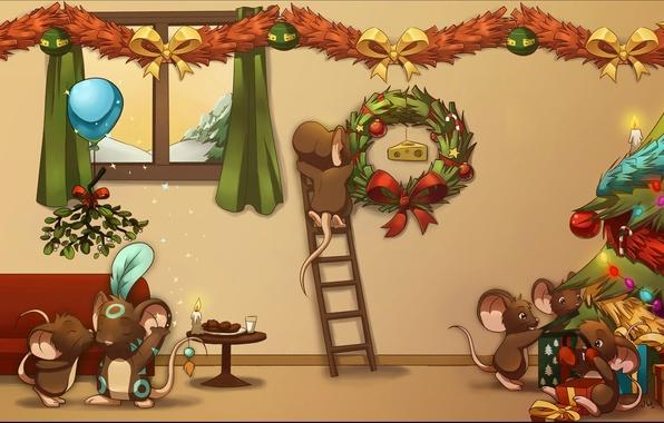 Картинка Сыр, Рождество, Мыши, Ёлка, Подарки, Мышки, Transformice, Трансформайс, т4м
