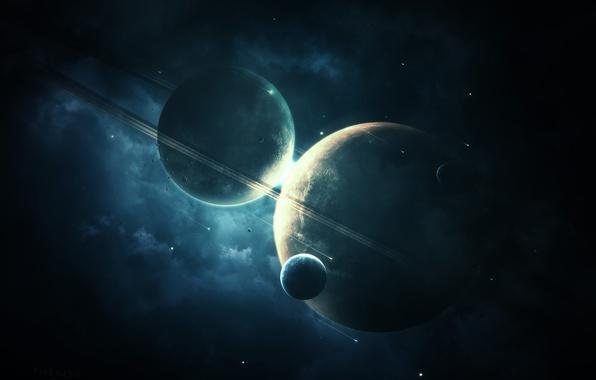 Картинка космос, звезды, планеты, арт, abikk