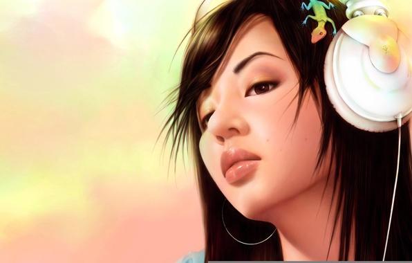 Картинка девушка, Картинка, в наушниках, ящерица на голове