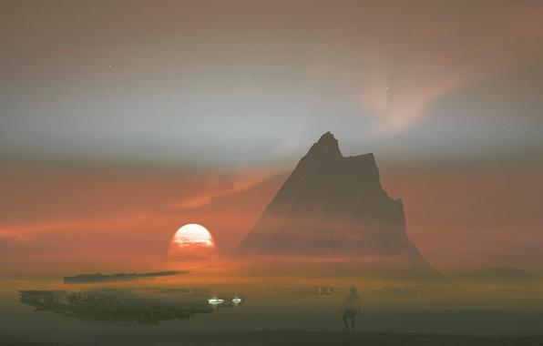 Картинка солнце, закат, фантастика, скалы, дым, гора, арт, танк, Dream