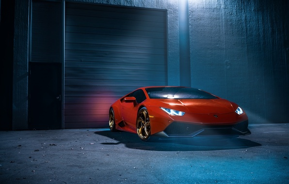 Картинка Lamborghini, Orange, Front, Color, White, Smoke, Supercar, Wheels, Huracan, LP610-4, Ligth