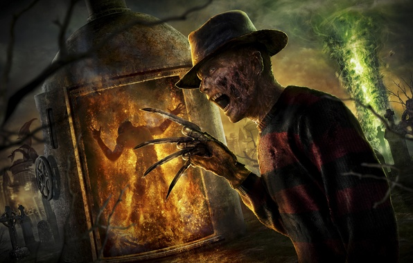 Картинка огонь, дракон, шляпа, кладбище, ножи, перчатка, 2011, Фредди Крюгер, Mortal Kombat, Freddy Krueger, NeoGAF, Frederick