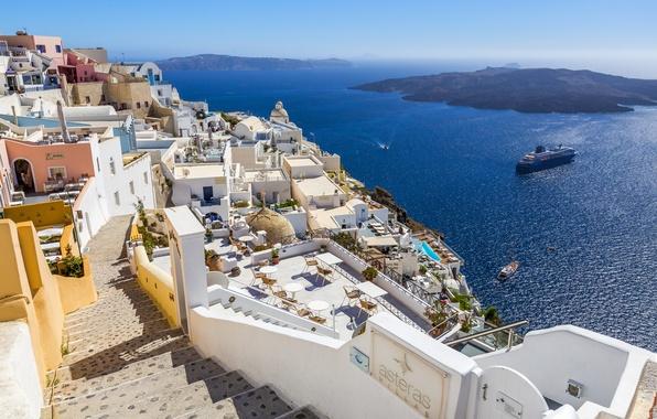 Картинка море, солнце, побережье, корабль, дома, Греция, горизонт, залив, Santorini