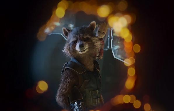 Картинка cinema, wallpaper, gun, weapon, Marvel, movie, animal, Vin Diesel, hero, Bradley Cooper, film, rifle, suit, …