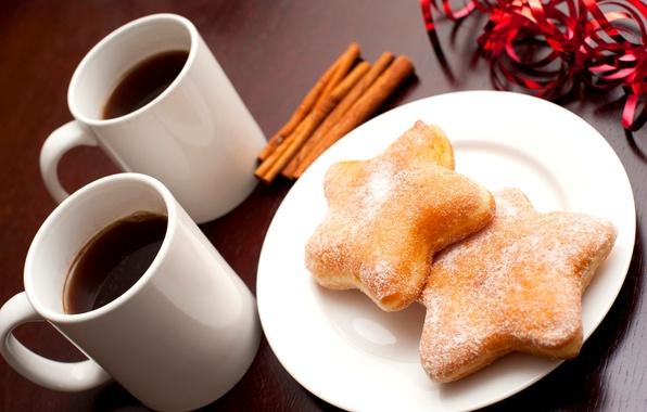 Картинка зима, звезды, кофе, еда, палочки, печенье, чашки, посуда, звёздочки, корица, десерт, выпечка