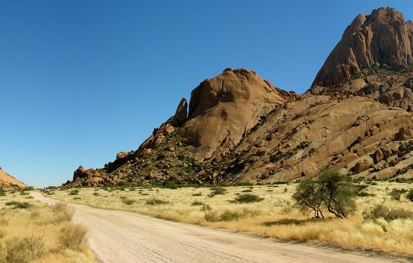 Картинка Небо, Песок, Природа, Фото, Дорога, Горы, Трава, Скалы, Деревья, Пустыня, Панорама, Камни, Африка, Пейзаж, Намибия, …