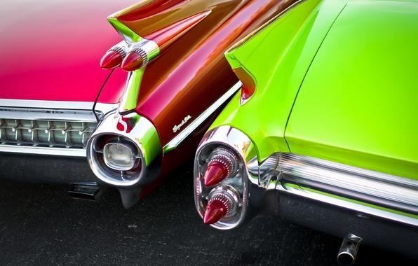 Картинка ретро, фары, Cadillac, 1960, классика, вид сзади, 1959