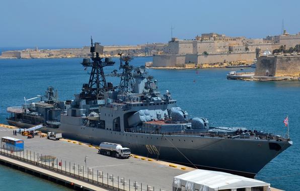 Картинка корабль, большой, ВМФ, противолодочный, Мальта, Североморск, визит, большой противолодочный корабль