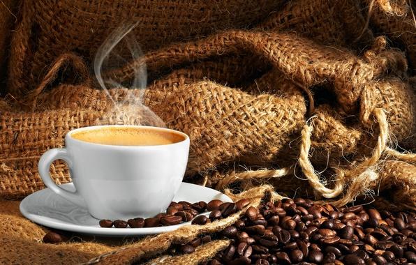 Картинка пена, кофе, зерна, пар, чашка, ткань, мешок