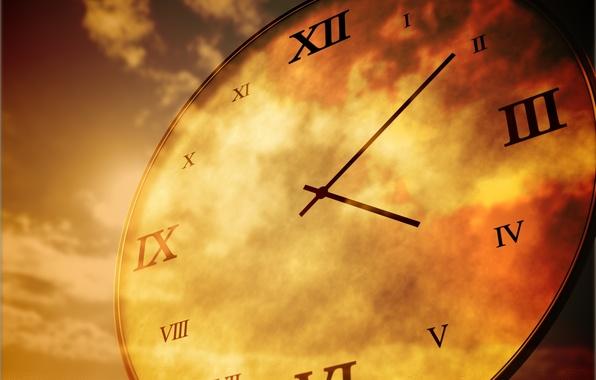 Картинка небо, время, часы, циферблат