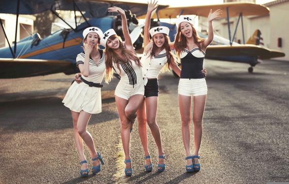 Картинка самолет, девушки, азиатки, kpop, Bora, Hyolyn, sistar, Dasom, Soyou