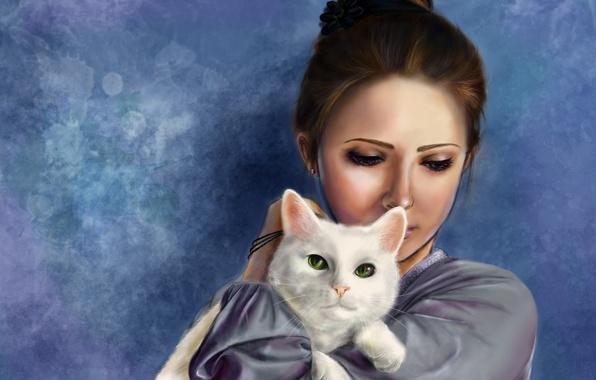 Картинка кошка, девушка, арт, hatae