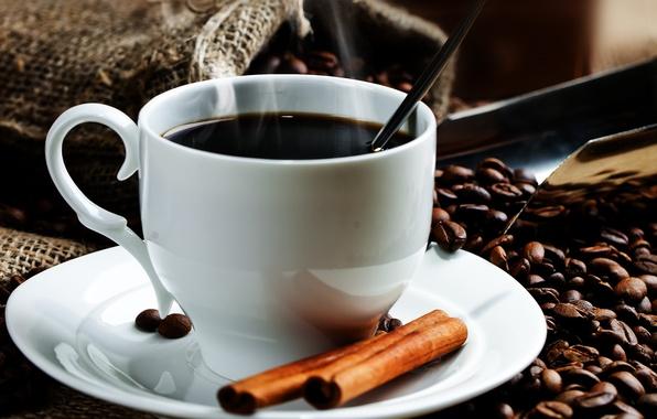 Картинка кофе, чашка, корица, мешок, кофейные зерна, блюдце