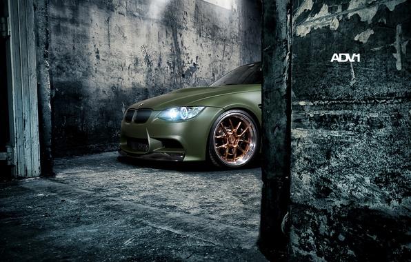 Картинка стены, фары, тюнинг, бмв, BMW, зелёный, tuning, передок, adv.1