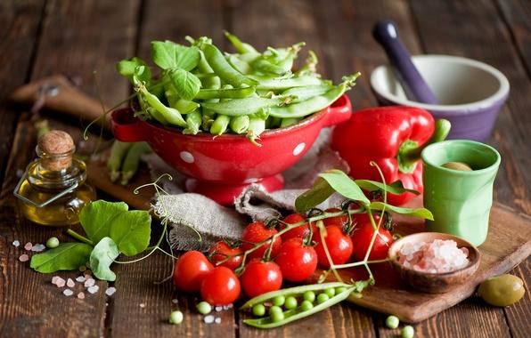 Картинка масло, горох, посуда, перец, овощи, помидоры, оливки, черри, Anna Verdina