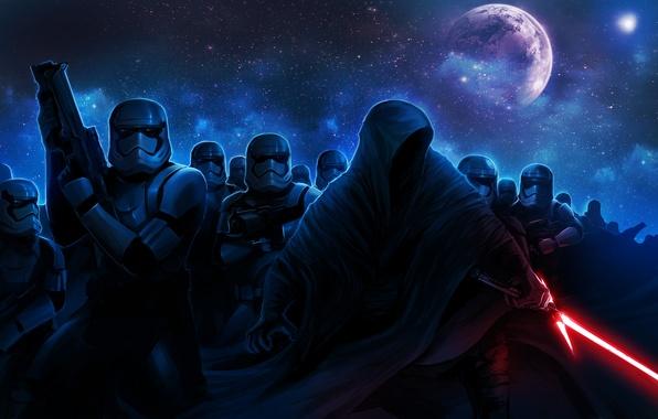 Картинка Star Wars, капюшон, art, световой меч, stormtrooper, lightsaber, sith, The Force Awakens, Star Wars: Episode …