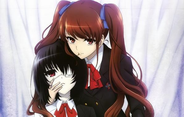 Картинка девушки, аниме, школьницы, anime, ленточки, хвостики, иная, Another, Mei Misaki, Izumi Akazawa