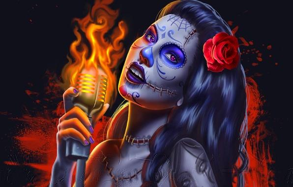 Картинка взгляд, девушка, лицо, фон, огонь, волосы, роза, рука, тату, арт, микрофон, швы