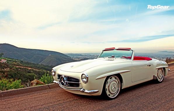 Картинка car, белый, ретро, фото, обоя, Top Gear, white, mercedes, автомобиль, красивое, мерседес, benz, photo, retro, ...