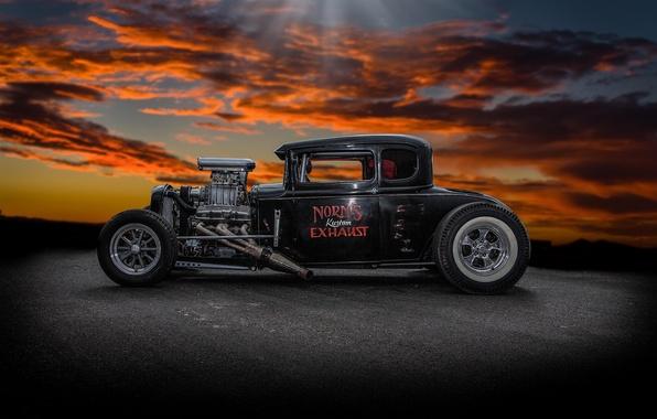 Картинка ретро, фон, классика, hot-rod, classic car