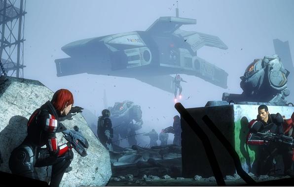 Картинка mass effect, shepard, Ashley Williams, javik, garrus vakarian, Cerberus, UT-47 Kodiak Drop Shuttle